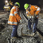 Workers repair track after 2013 Metro North derailment near the Spuyten-Duyvil station in the Bronx.